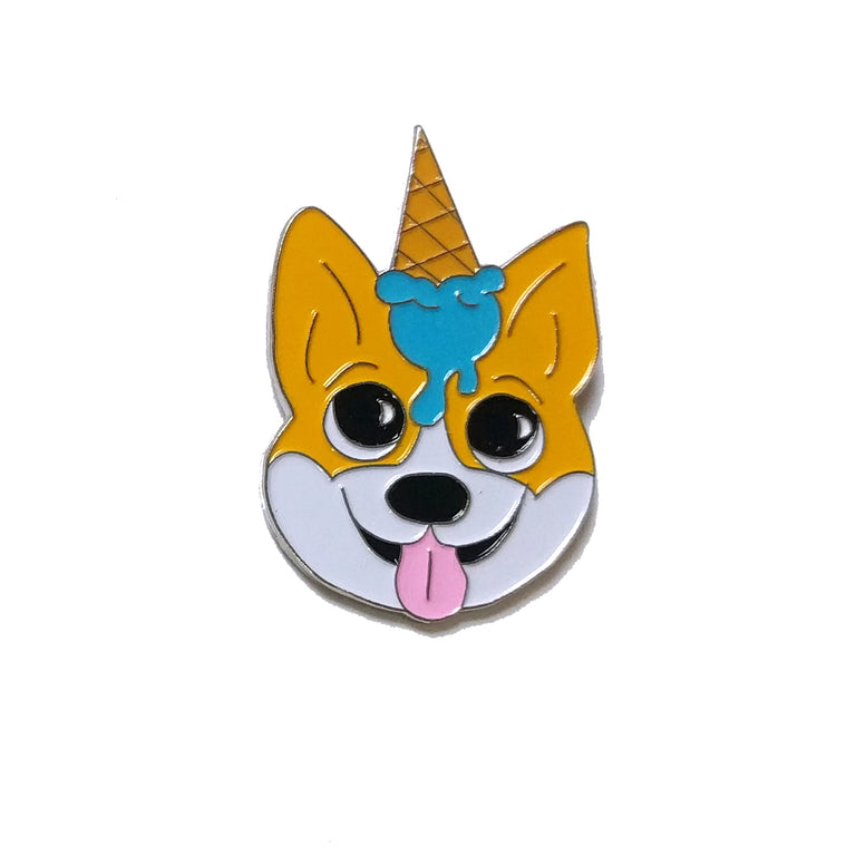 Unicone Corgi Enamel Pin - Lady No Brow - Feminist Fashion