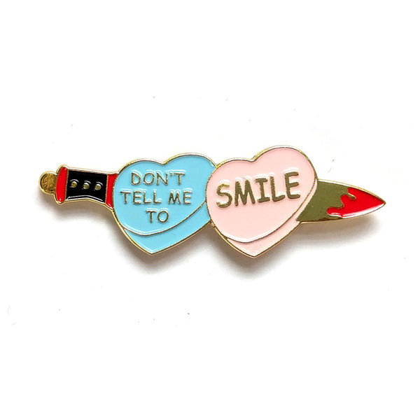 Don't Tell Me To Smile Heart & Dagger Pin - Lady No Brow