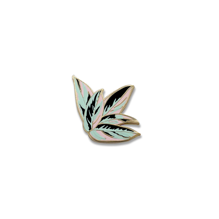 Prayer Plant Enamel Pin - Lady No Brow - Feminist Fashion & Flair