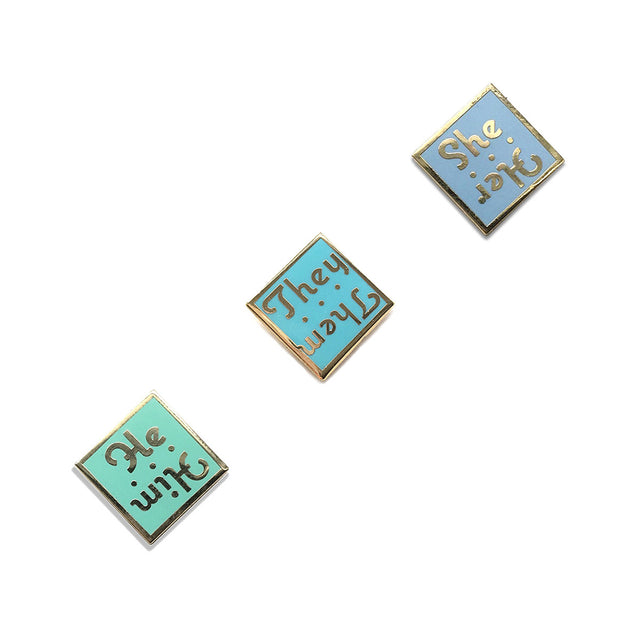 Pronoun Enamel Pins - Lady No Brow - Feminist Fashion