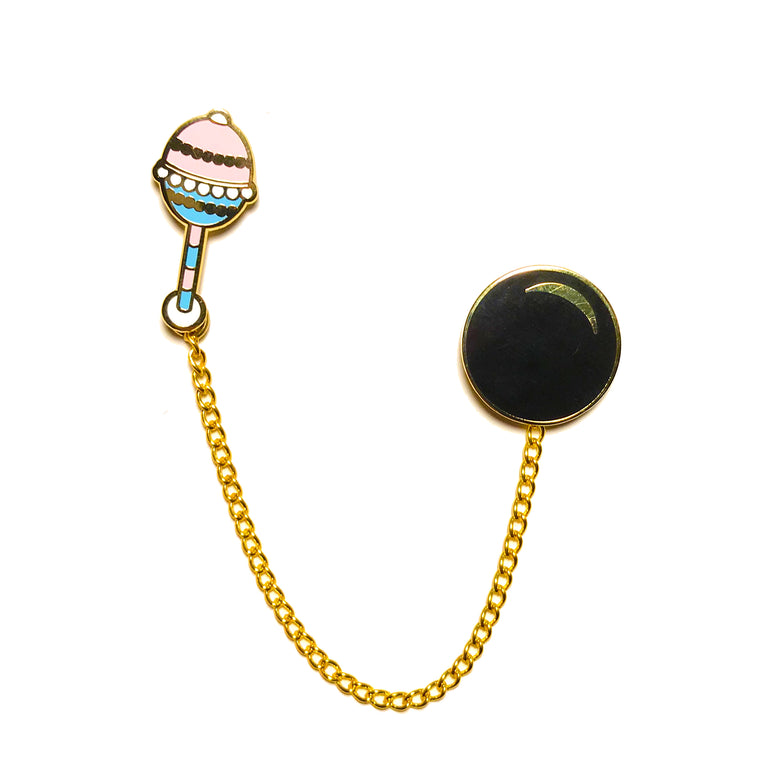 Rattle, Ball & Chain Pin Set - Lady No Brow - Feminist Fashion