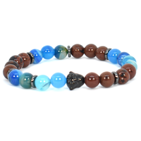 Blue and brown Pacific beads bracelet
