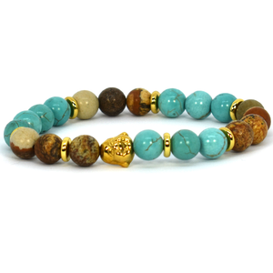 Turquoise Gold and brown Natural bracelet