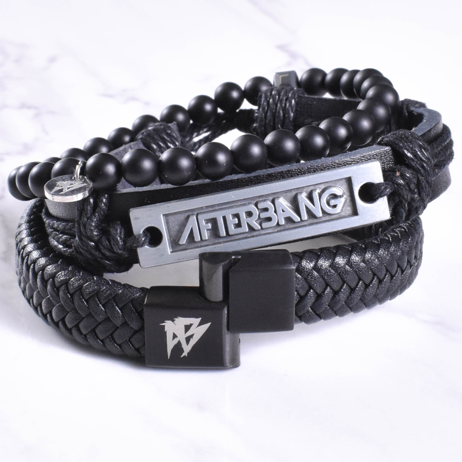 Black leather bracelet combo