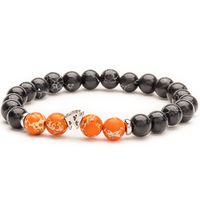 Black and Orange Magma beads bracelet