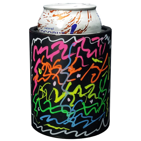 CHALKBOARD KEEPZIT KOOLER (2 PACK) PREMIUM INSULATED BEVERAGE HOLDER WITH SIX COLOR MARKERS