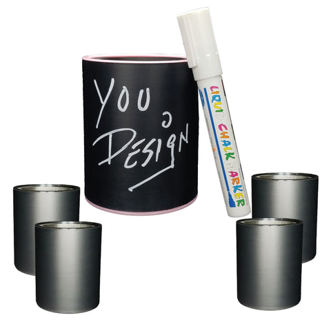 CHALKBOARD KEEPZIT KOOLER (4 PACK) PREMIUM INSULATED BEVERAGE HOLDER WITH WHITE MARKER