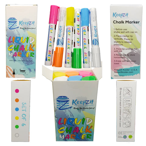 Keepzit Kooler Wet Erase Liquid Chalk Markers - Six Colors
