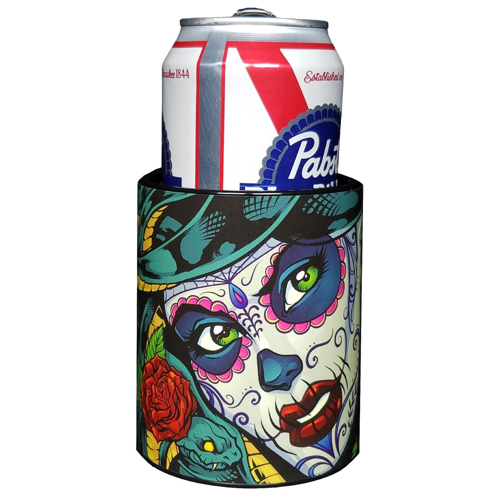 Keeping it Colder with Keepzit Kooler Medusa Sugar Skull Insulated Beverage Holder