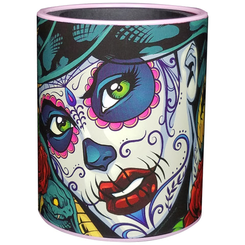 Image of KEEPZIT KOOLER MEDUSA SUGAR SKULL PREMIUM INSULATED BEVERAGE HOLDER