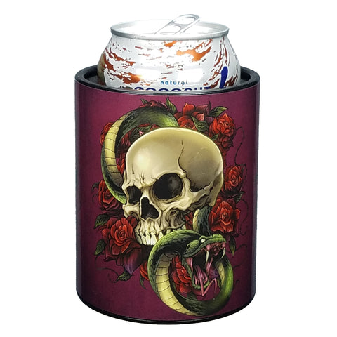 Image of Skull and Roses Premium Insulated Beverage Holder Keepzit Kooler - Black