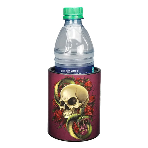 Image of Skull and Roses Keepzit Kooler with 16.9 Oz Water Bottle - Black