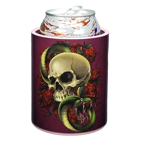 Skull and Roses Premium Insulated Beverage Holder Keepzit Kooler - Pink
