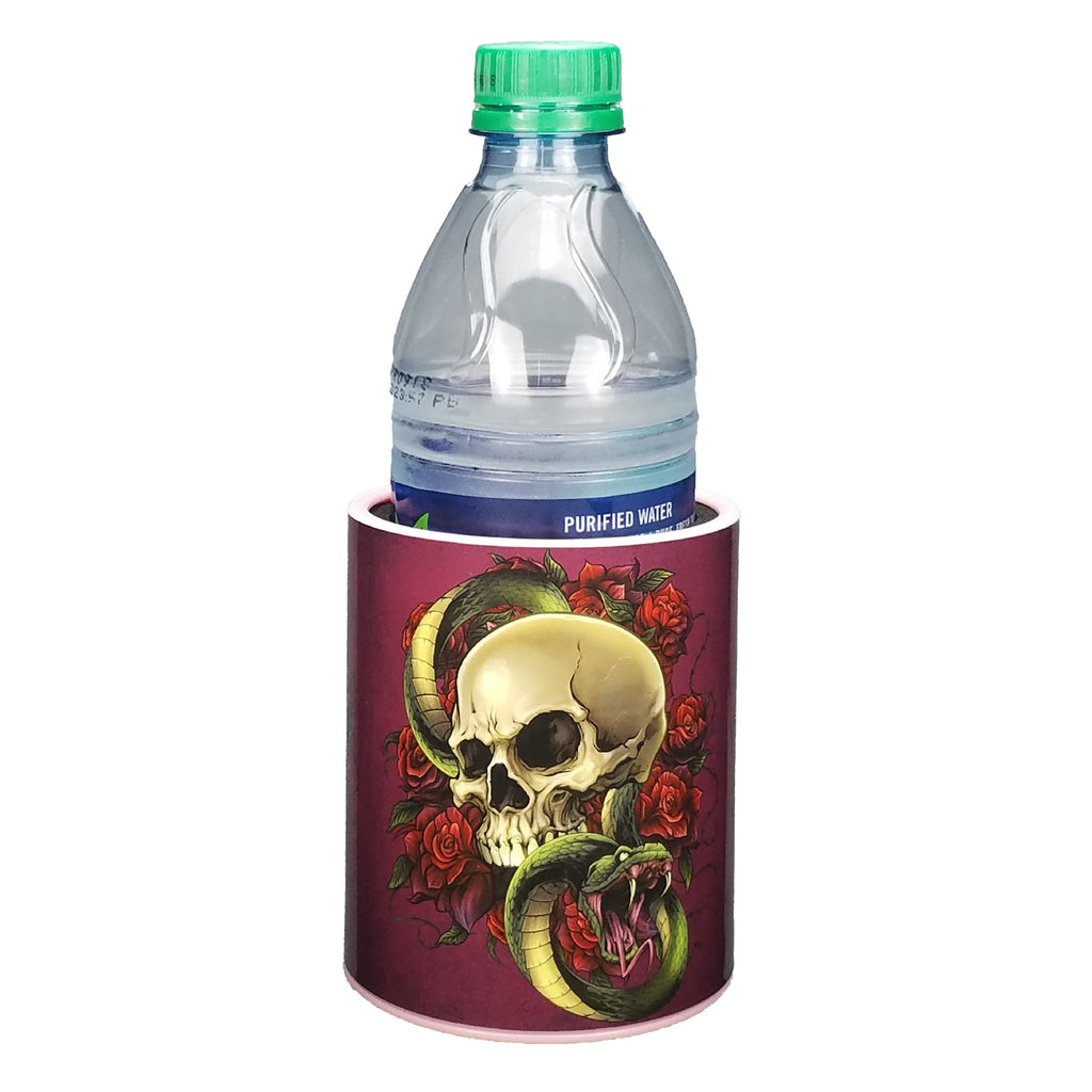 Skull and Roses Keepzit Kooler with 16.9 Oz Water Bottle - Pink