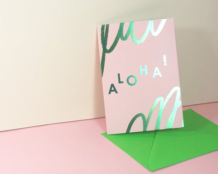 Aloha - Suitcase Foiled Greeting Card