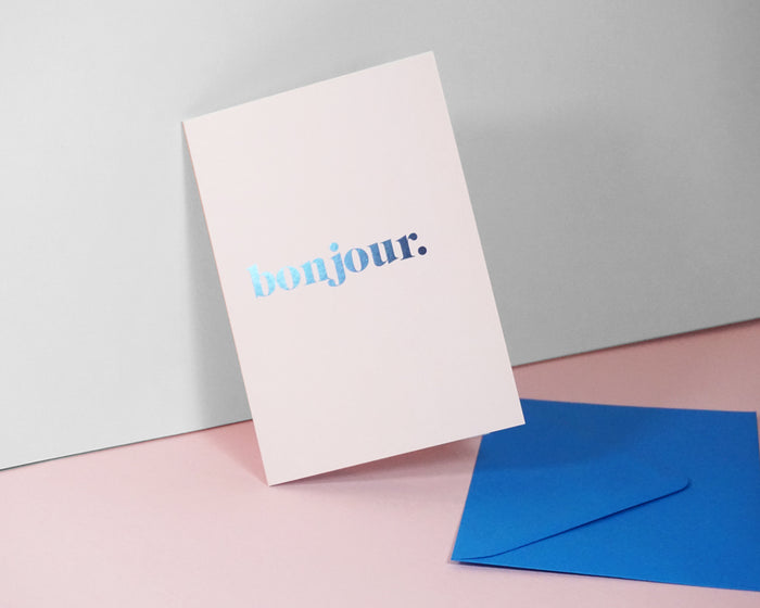 Bonjour - Suitcase Foiled Greeting Card