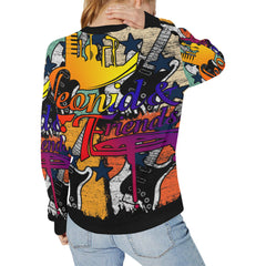Leonid and Friends Guitar Comic Sweatshirt, Rib Cuff Crew Neck Sweatshirt for Women (H34) - Sarx Clothing