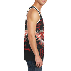 Leonid and Friends Tank Top (flaming Guitar), Men's All Over Print Tank Top (T57) - Sarx Clothing