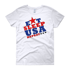 Eat, Sleep USA Women's short sleeve t-shirt,  - Sarx Clothing