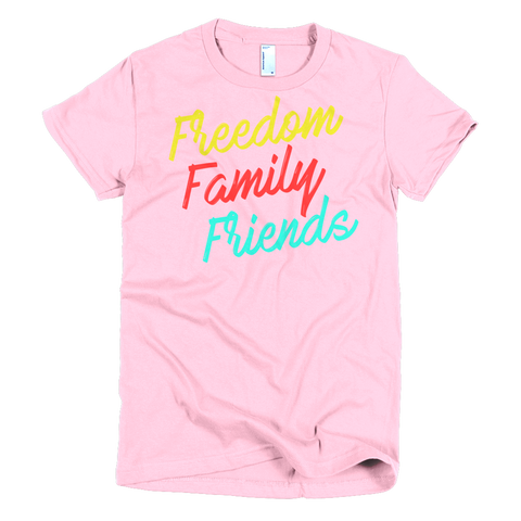Freedom, Family, Friends Short sleeve women's t-shirt,  - Sarx Clothing