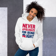 Never Apologize for being RIGHT Hoodie,  - Sarx Clothing