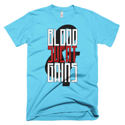 Blood, Sweat, Gains Short sleeve men's t-shirt,  - Sarx Clothing