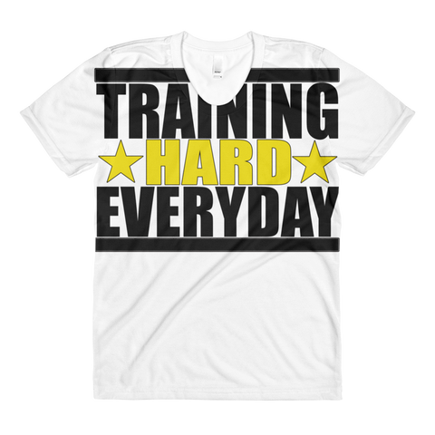 Train Hard Everyday (Allover)  women's crew neck t-shirt,  - Sarx Clothing