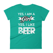 Yes im a girl Women's short sleeve t-shirt,  - Sarx Clothing