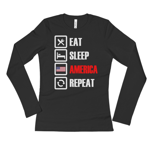 Eat, Sleep,AMERICA  Long Sleeve T-Shirt,  - Sarx Clothing