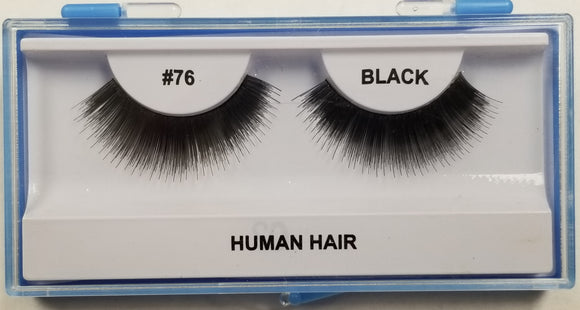 Human Hair False Eyelashes in Blue Case