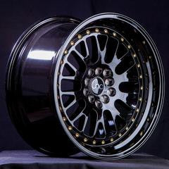 JNC001 Gloss Black Gold Rivets 17 x 9