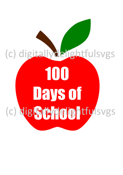 100 Days of School Apple svg
