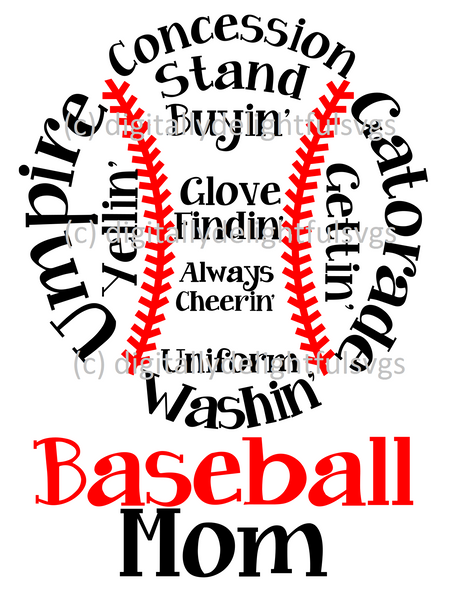 Baseball mom words in ball svg