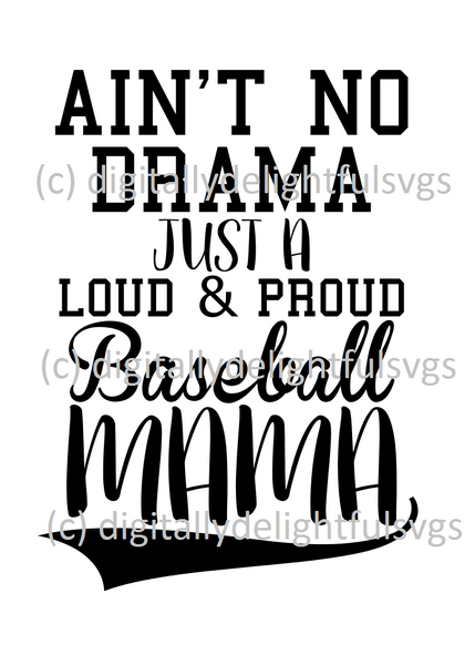 Baseball mom no drama svg