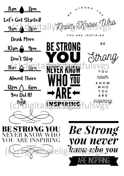 Be Strong Water Bottle svg