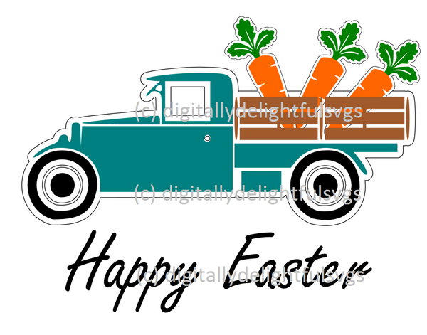 Easter Truck with Carrots svg