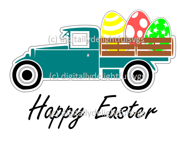 Easter Truck with Eggs svg