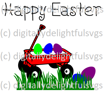 Happy Easter Little Red Wagon svg