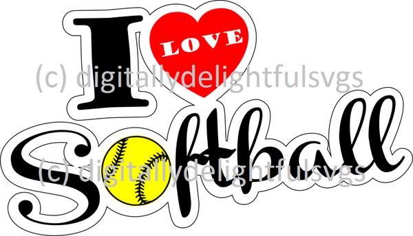I love softball svg