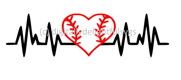 Baseball heartbeat svg