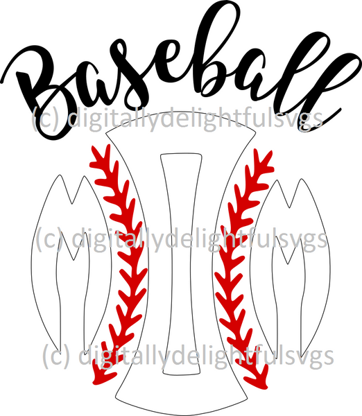 Baseball mom initials svg