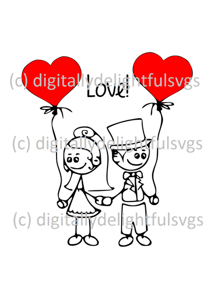 Bride and Groom Cartoon svg