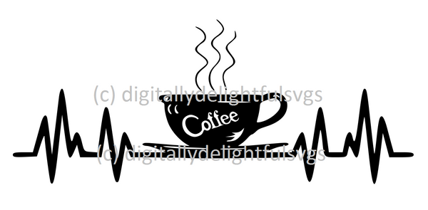 Coffee heartbeat svg