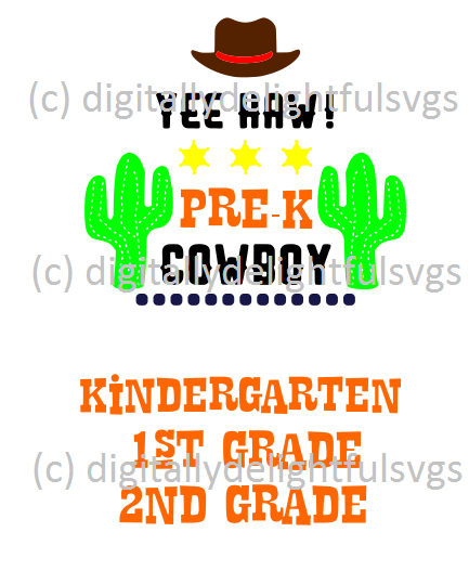 Cowboy first day of school svg