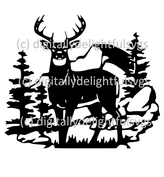 Deer in Woods svg