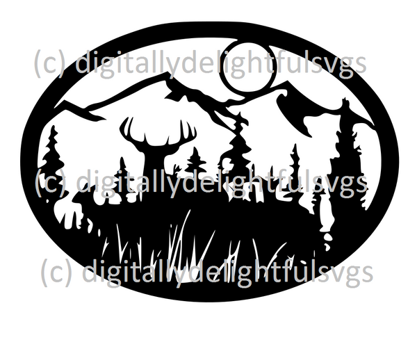 Deer Scene Oval svg
