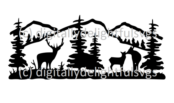 Deer scene rectangle svg