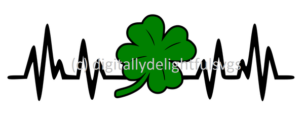 Four Leaf Clover Heartbeat svg