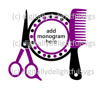 Hair Dresser Monogram svg