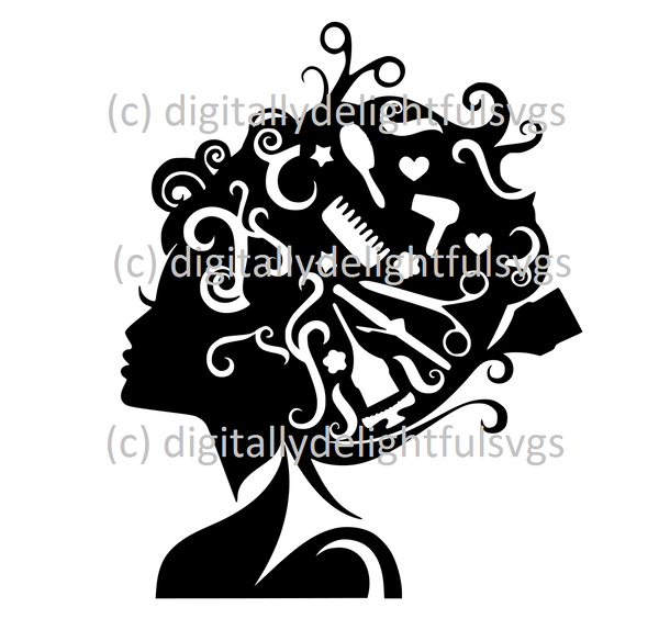 Hair Stylist items in hair simple version svg